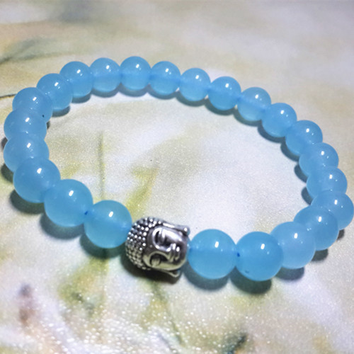 Hot New Light Blue Chalcedony Agate Stone 8mm Bead Buddha Bracelets Gifts For Best Friends