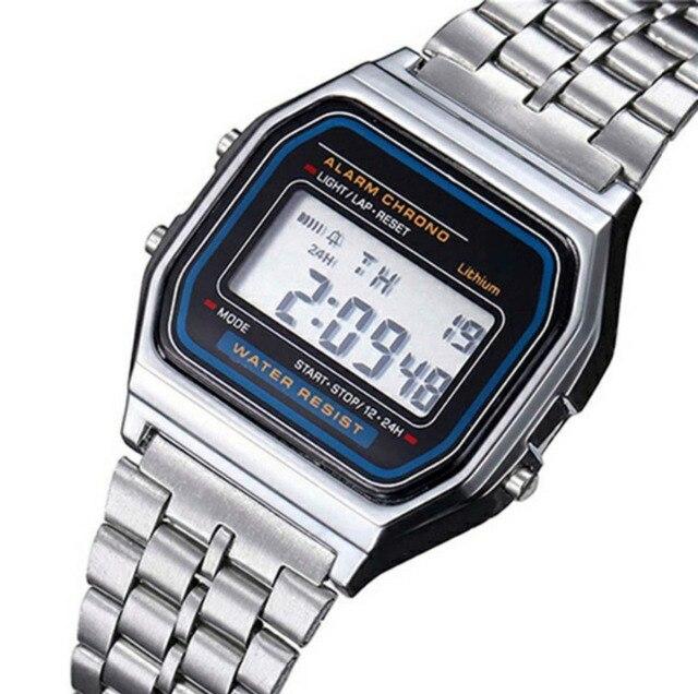 f90cec789d4 Alarme Cronômetro Digital de LED Relógio Das Mulheres Dos Homens de luxo Em  Aço Inoxidável Moda