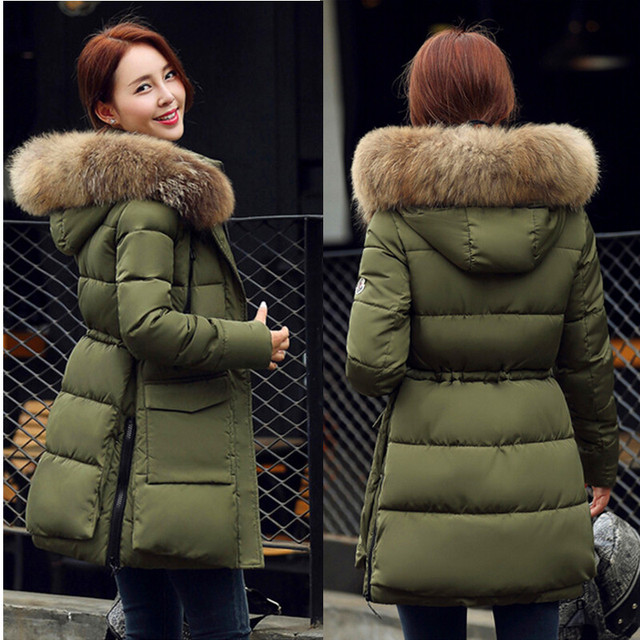980d29b831f56 New 2016 Winter Jackets Women Coat Real Large Raccoon Fur Collar Hooded  Long Warm Slim Thick