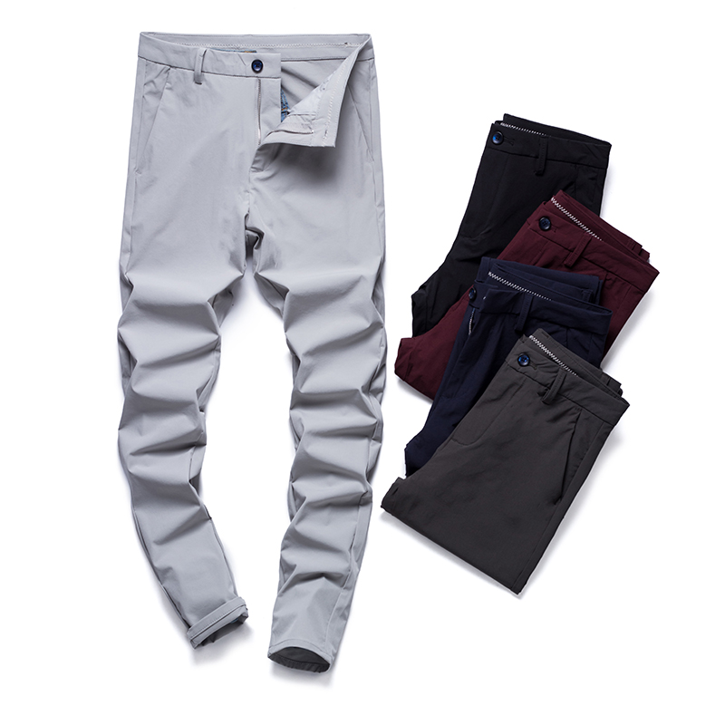 Summer Men Pants Casual Straight Pant Cotton Clothes Comfortable Trousers Men Clothing Big Size Full Length Mens Business Pants