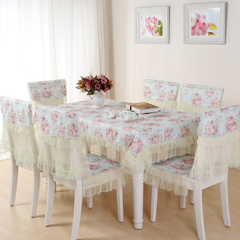 Simple Elegant Pastoral Dining Table Cloth Non Slip Chair