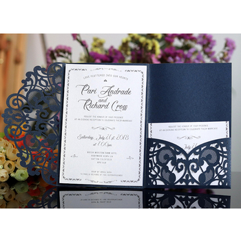 100pcs European Laser Cut Wedding Invitations Card Elegant Tri-Fold Lace Business Card RSVP Cards Wedding Favor Party Decoration 1