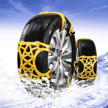 6 Pcs Winter Chains Yellow Car Snow Chain Tire Wheel Traction Chains Anti-skid Outdoor Road Safety   Protector 155-285mm