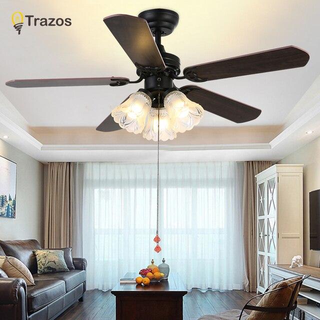 Trazo שחור בציר תקרת מאוורר עם אורות מרחוק בקרת Ventilador דה Techo 220 וולט שינה תקרת אור אוהד מנורת E27 נורות