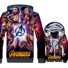 New The Avengers Jacket Movie Hoodie Men Hipster Hooded Sweatshirt Winter Thick Fleece Zip up 3D Print Coat Plus Size 5XL недорого