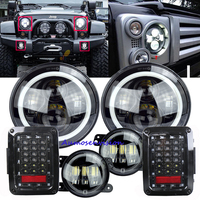 7 '' Inch LED Halo Đèn Pha & 4 '' Inch Sương Mù Đèn & Đèn Đuôi Kit Đen Lights Đối Với Jeep wrangler 2007-2015