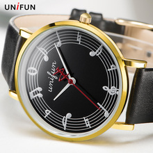 UNIFUN Women Musical Notation Creative Leather Strap Fashion Casual Dress Quartz Simple Style Relogios Feminino Lady Gift Watch(China)