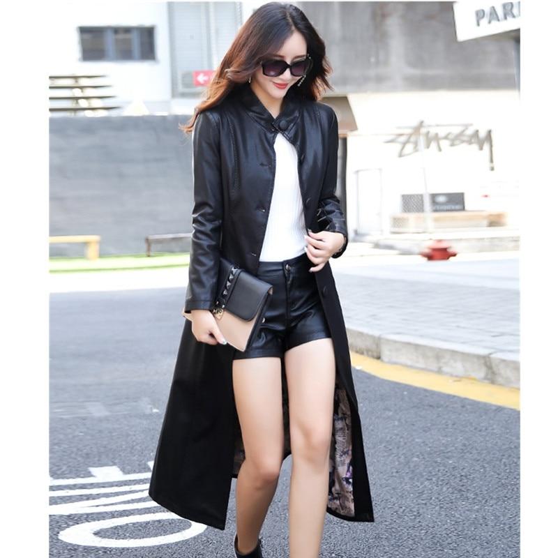 Manches Manteau Longues S Slim En Boutique Femelle Femmes Black Taille 2018 Grande Cuir red Veste gray Épais À Longue Okxgnz Automne 5xl OAq76At