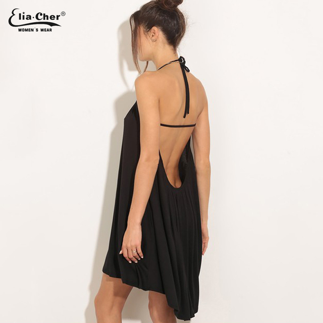 581c81cb8cd7 Dress Women Summer Dress Eliacher Brand Plus Size Casual Women Clothing  Sexy Open Back Black Women Dresses vestidos 6649