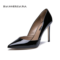BASSIRIANA 2018 quality genuine leather patent leather shoes woman thin high heels leather outsole shoes black beige size 35 40