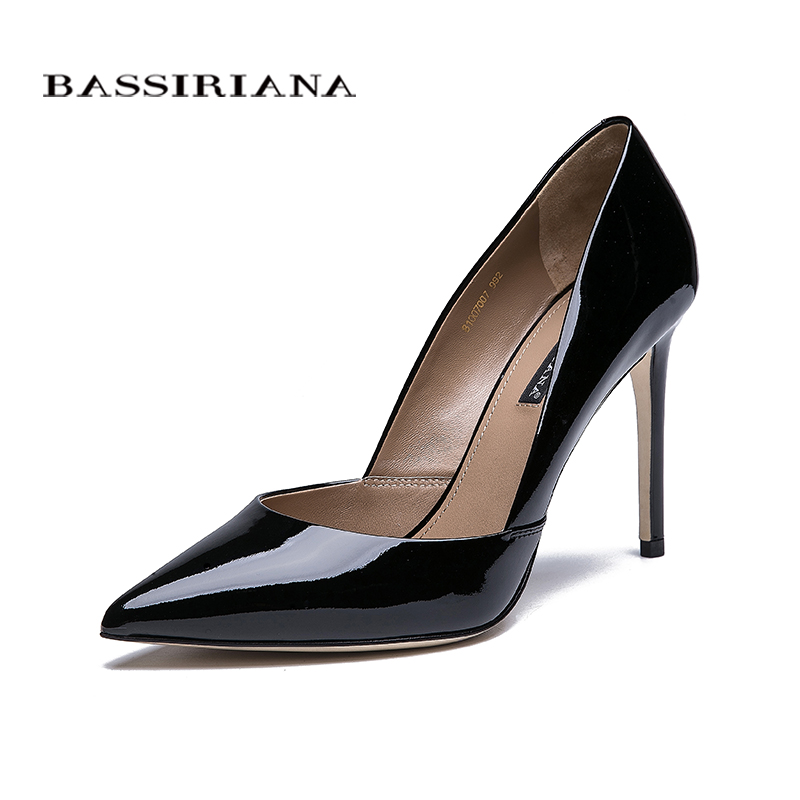 BASSIRIANA 2018 quality genuine leather patent leather shoes woman thin high heels leather outsole shoes black beige size 35-40