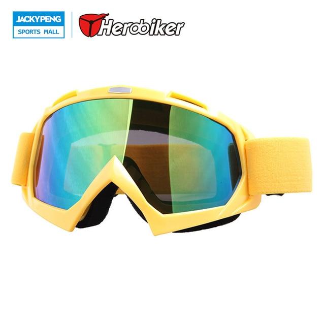 Adulte Snow Lunettes de ski coloré objectif Motocross anti-buée Mode protection des yeux Lunettes de sport, Homme, jaune