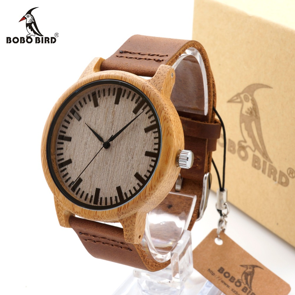 BOBO BIRD C-A16 Women Wooden Bamboo Watches for Men Real Leather Strap Quartz Watches for Women with Gift Box OEM Dropshipping bobo bird metal case with wooden fold strap quartz watches for men or women gifts watch send with wood box custom logo clock