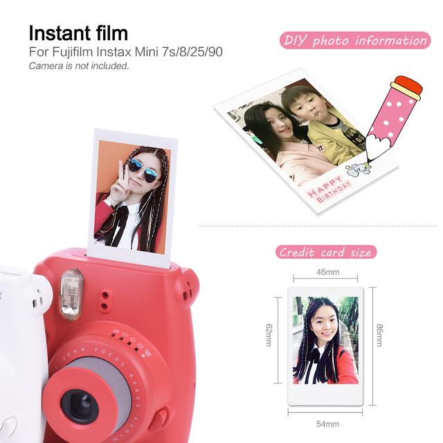 10 20 Sheets Fujifilm Instax Mini White Film Photo Paper Snapshot Album Instant Print for Fujifilm Instax Mini 8/9/25/90/7s