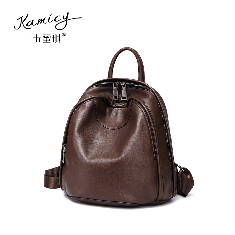 Kamicy women bag 2018 new style double shoulder bag retro fashion head layer of leather baggy ladies soft leather satchel