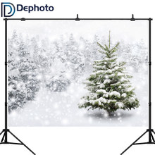Dephoto Background Photography Winter Snow Tree White Bokeh Christmas Backdrop nature photocall prop customize original design(China)