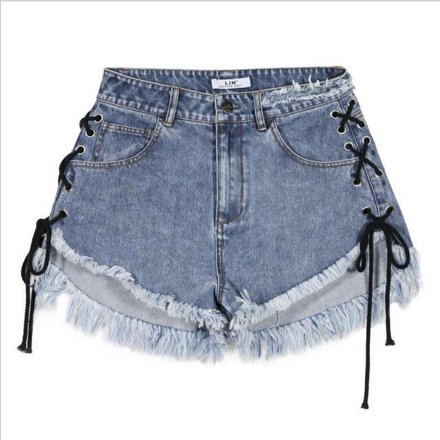 2018 summer new fashion String Design Women Jean Shorts sexy lace up flare denim shorts high waist cowboy shorts gx348