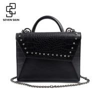 SEVEN SKIN Brand Shoulder Bag Female Alligator Pattern Leather Handbag For Women Messenger Bags With Chain