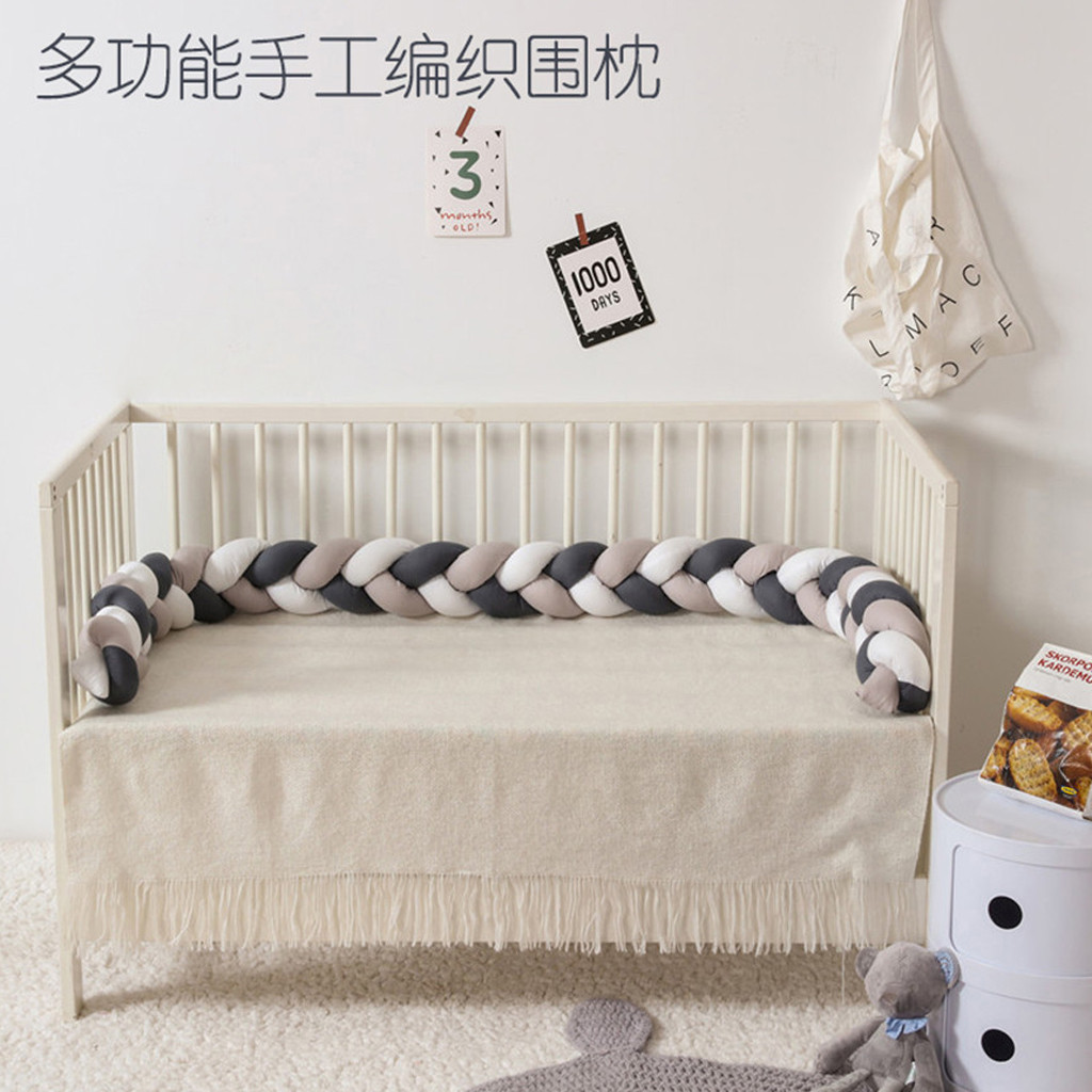 Long Knotted Braid Pillow Baby Colorful Soft Knot Pillow Woven Sofa Cushion Crib Bumper Decorative Bedding Pad 7 Colors 5.30