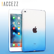 !ACCEZZ 9.7inch Protective Silicon Case Clear Transparent Soft  Silicone Gradient Color Cover For Apple iPad 2 3 4