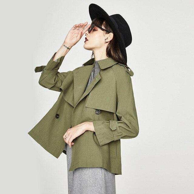 Thời trang của phụ nữ áo khoác Ngắn Mùa Xuân mùa thu Hàn Quốc phong cách loose áo khoác áo gió A165
