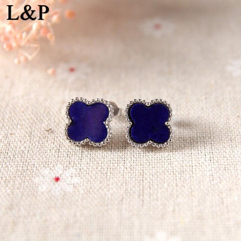 все цены на Lapis Lazuli Handmade Sterling Silver Jewelry Thai Silver Women Vintage Stud Earrings Four Leaf Clover Sterling Silver Jewels