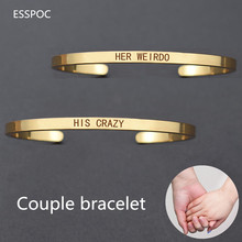 "Rose Gold/gold/silver Bracelet""His Crazy Her Weirdo ""Cuff Bracelet Matching Titanium Wristband Couple Jewelry"