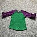 Envío libre de los bebés ropa niños hielo ruffle sirena raglans raglan tops camisetas chicas casual tops otoño Camiseta superior