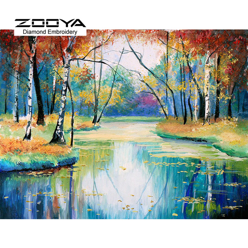 5D DIY Diamond Painting Forest River Crystal Diamond Painting Cross Stitch landscape Trees Needlework Home Decorative BJ1178