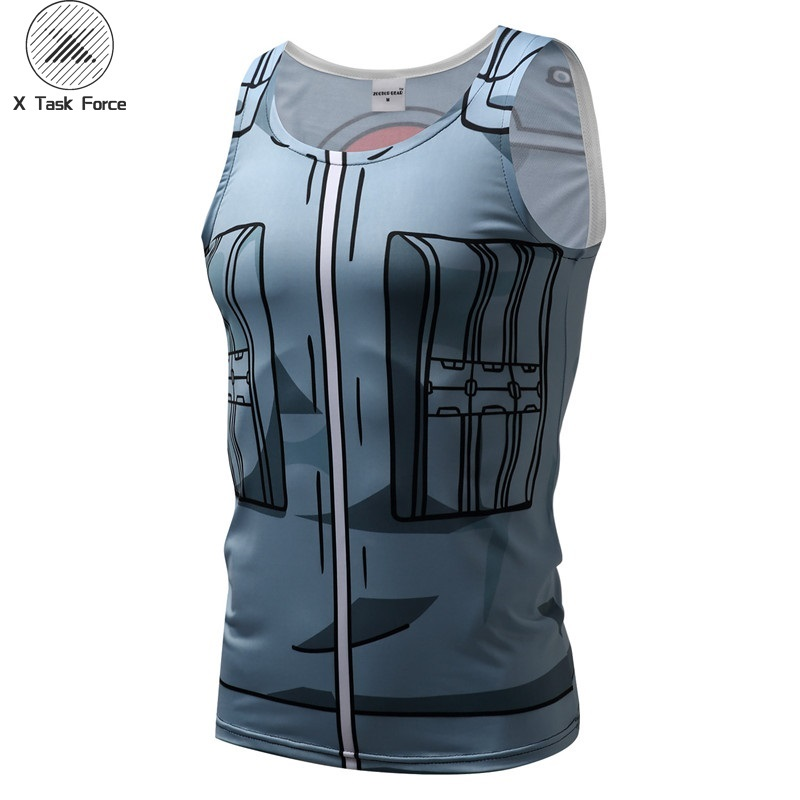 New Bodybuilding Brand   Tank     Top   Men Fitness Sleeveless 3D Print Anime Naruto Hateke Kakshi Fashion Tight Vest X Task Force