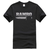 Rambo Movie First Blood Knife Logo Licensed Adult Shirt Short Sleeves Cotton Tops Shirts Men Casual
