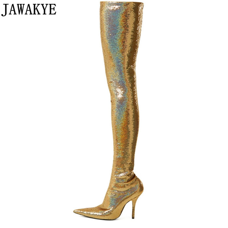 Gold silver over the knee boots sexy pointy toe shiny sequins high heels thigh high boots