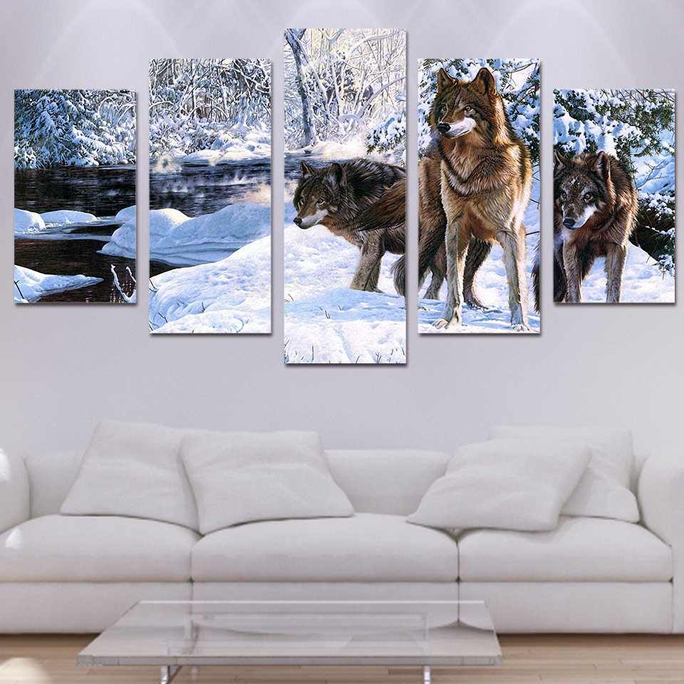 5 piece canvas art snow wolf ice HD print wall pictures for living ...