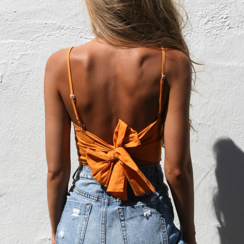 Orange Top Fashion Crop Top Mujer Sexy Summer Tops Female Tanks Camisole Fitness White Color Cropped Women Street Cotton Shirt