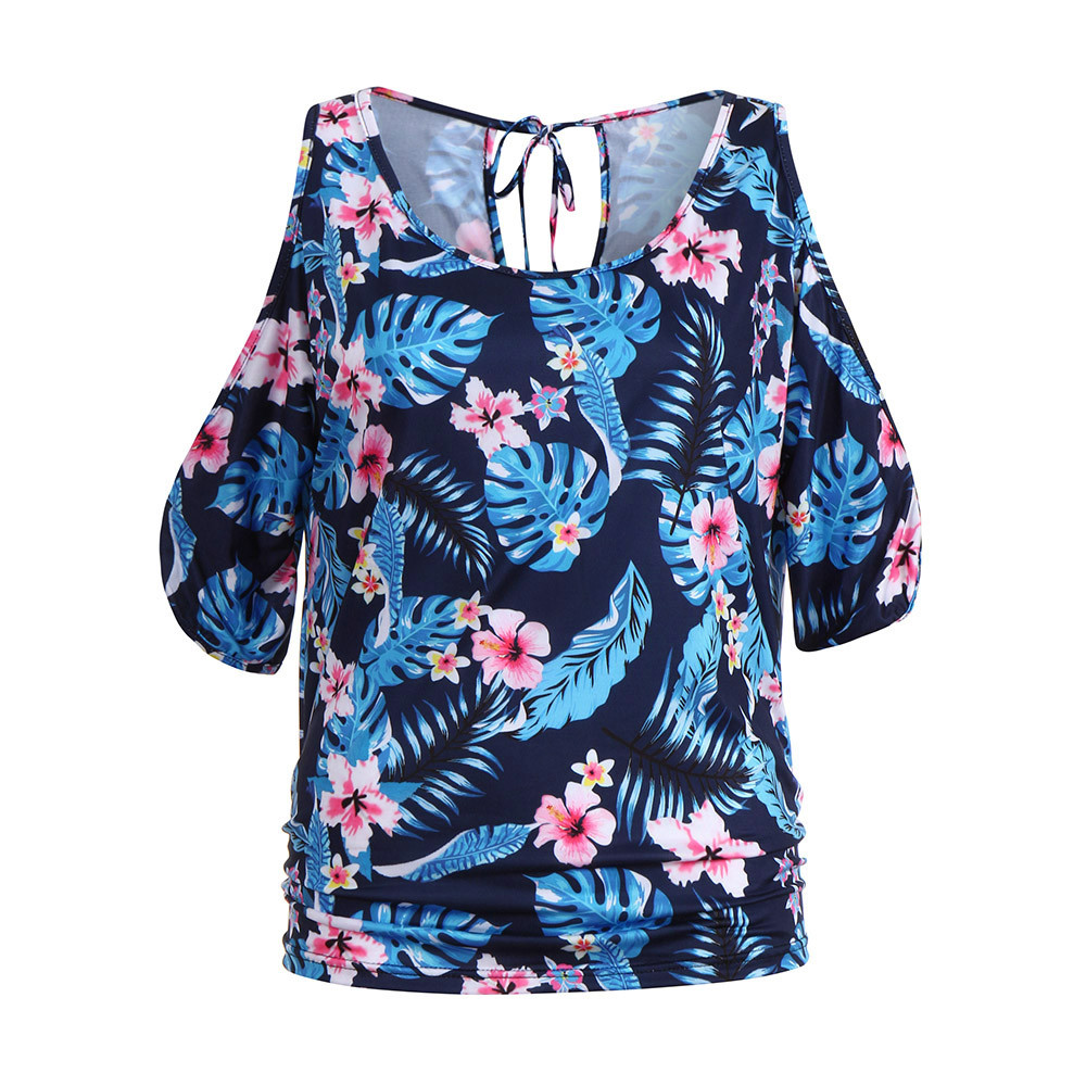 Objective Women Printing Short Sleeve Aesthetic Tumblr Riverdale Cold Shoulder Vest Blouse T-trend Tunic Tops Camiseta Mujer Luxury New Women's Clothing