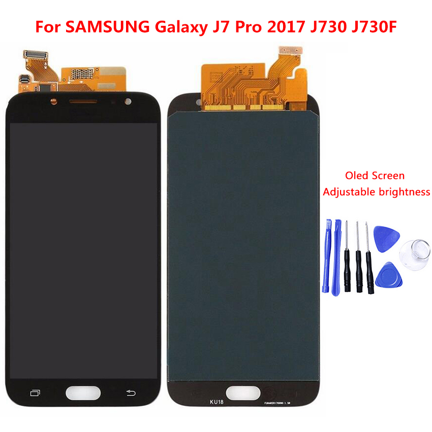 For Samsung Galaxy <font><b>J7</b></font> <font><b>Pro</b></font> 2017 J730 J730F <font><b>LCD</b></font> <font><b>Screen</b></font> Display Touch Digitizer Assembly With Brightness Adjustment <font><b>LCD</b></font> <font><b>Replacement</b></font> image