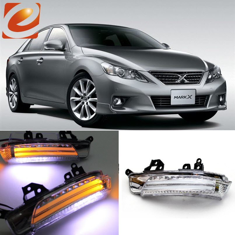 eeMrke For Toyota Reiz MarkX 2010 2011 2012 2013 2014 Side Rear View Mirror Lights LED DRL Turn Signals Irradiated Ground Lights for toyota innova 2013 2014 2015 turn