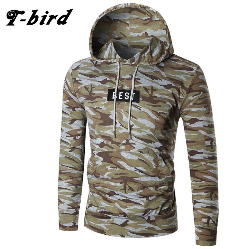 T-Bird Con Cappuccio Da Uomo 2018 Maschile A Maniche Lunghe Con Cappuccio  Alfabeto Camouflage Felpa Uomo Moletom Masculino Hoodies Sottili Tuta XXL a628bb363c46