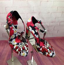 Luxury Print Flowers Round Toe Women Pumps Retro Style Thick High Heels Wedding shoes woman Woman Rhinestone New New Pumps San