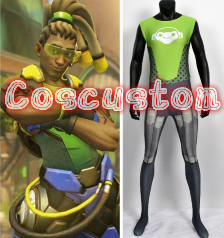Coscustom High Quality Game OW Lucio Costume Lucio Bottoming Jumpsuit Spandex Lycra Halloween Cosplay Costume