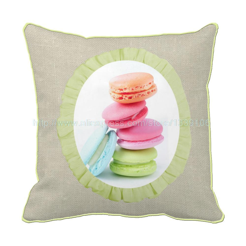 Sweet and delicous macrons printed custom square cushion home decor unique decorative pillow sofa bed almofas contains inner