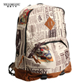 WILIAMGANU Hot  2017 NEW Tide Male Newspaper Design Restoring Ancient Ways Backpack Individuality Leisure Fashion Backpack