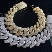 3 rows Hiphop iced out prong cuban link chain