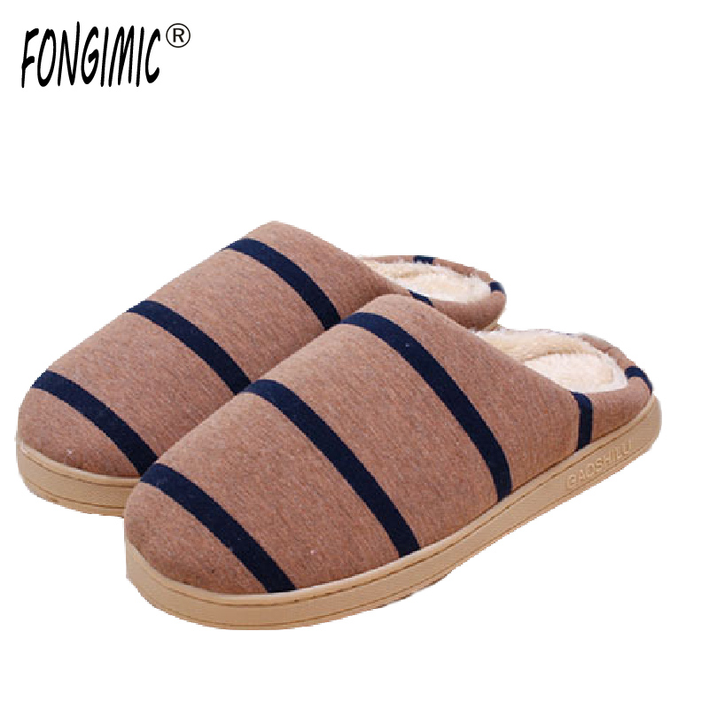 FONGIMIC Winter Slippers Men Women Casual Striped Cotton Shoes Autumn Winter Couple Fashion Trend Non-Slip Slippers 5 Color New купить