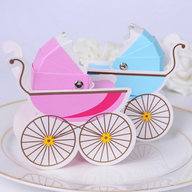Lovely Baby Carriage Candy Box Baby Baptism Favors Gift Boxes Baby Shower Birthday  Party   Christmas New Year