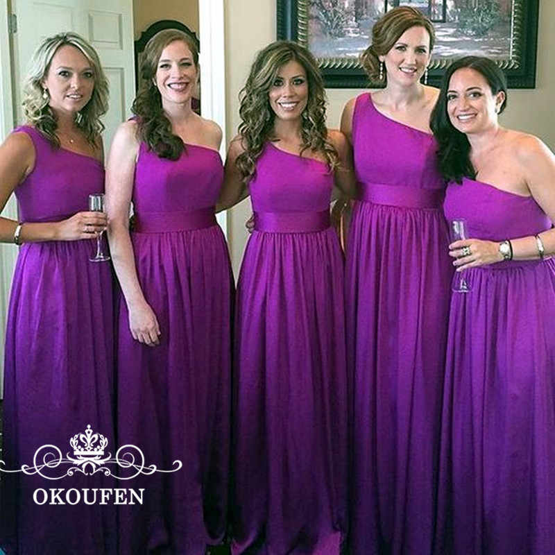be59a4911a9 OKOUFEN One Shoulder Purple Stretchy Satin Long Bridesmaid Dresses 2018  Sleeveless A Line Maid Of Honor