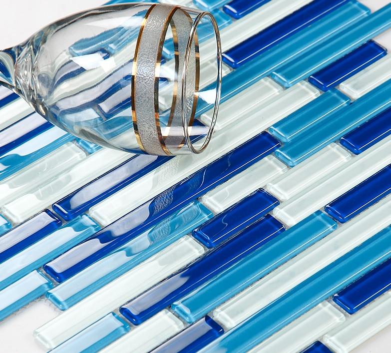 Strip blue crystal glass mosaic,backsplash Swimmingpool decor tile,Kitchen,Bathroom tub Home wallpaper,LSCT01