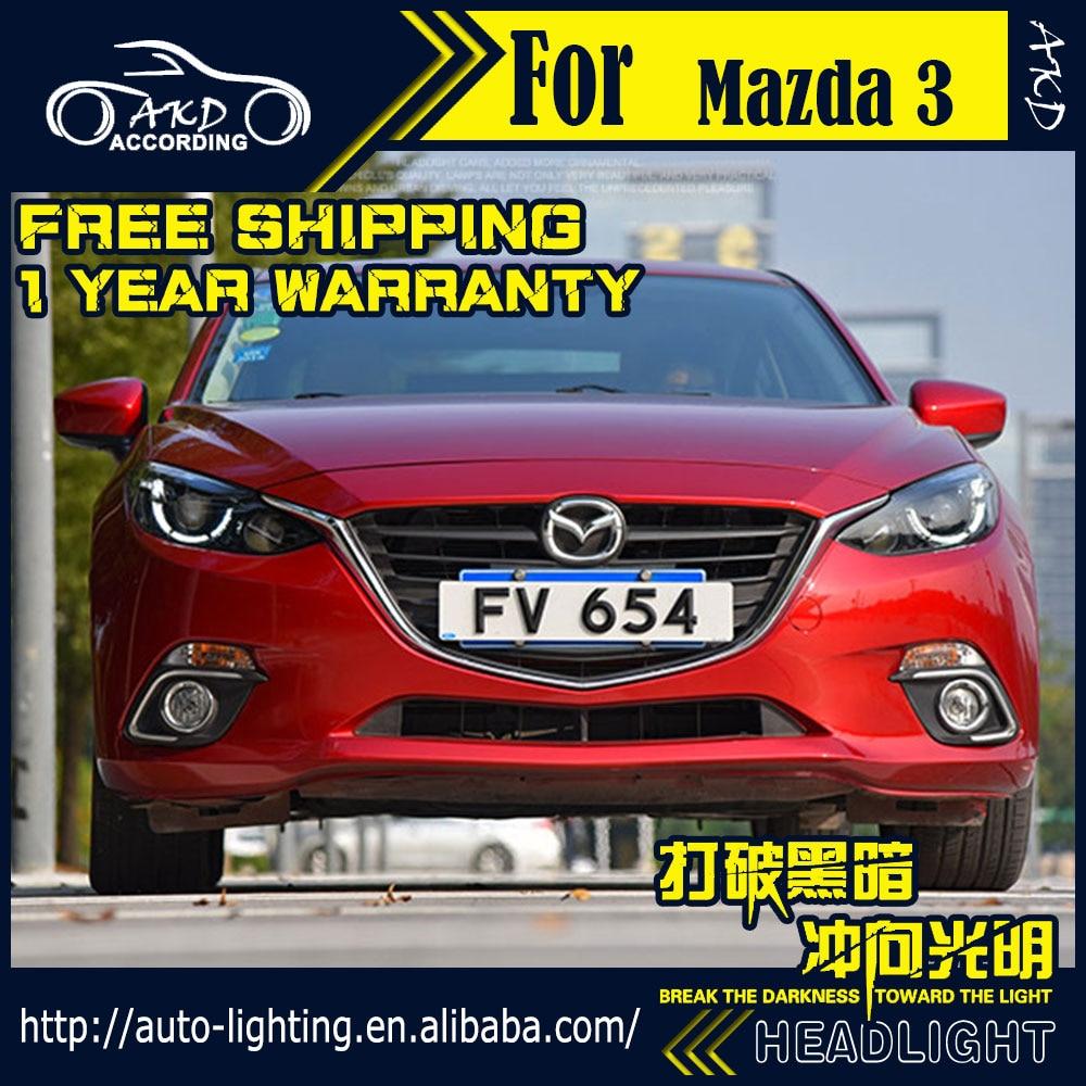 AKD Car Styling Head Lamp for Mazda 3 Headlight 2014-2016 Mazda3 Axela LED Headlight LED DRL LED High Beam D2H Hid Bi Xenon Beam