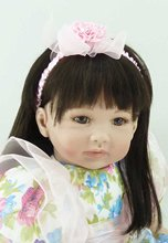 22 inch 55 cm Silicone baby reborn dolls, lifelike doll reborn babies toys Fashion doll hair flower skirt