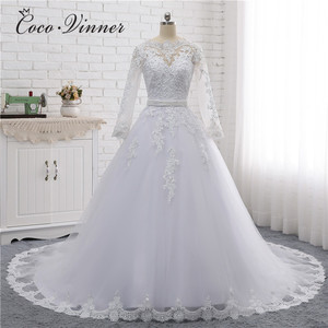 Image 1 - Boat Neck Beaded Sashes Vintage Wedding Dress 2020 Embroidery Appliques Pearls Crystal Beads Ball Gown Wedding Dresses W0007